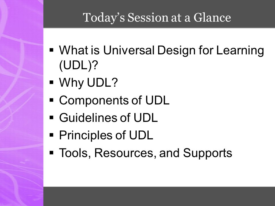 Today's Session at a Glance