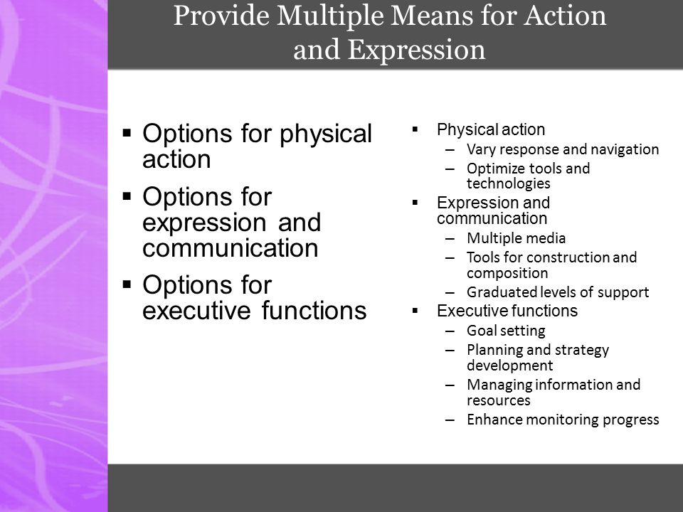Provide Multiple Means for Action and Expression