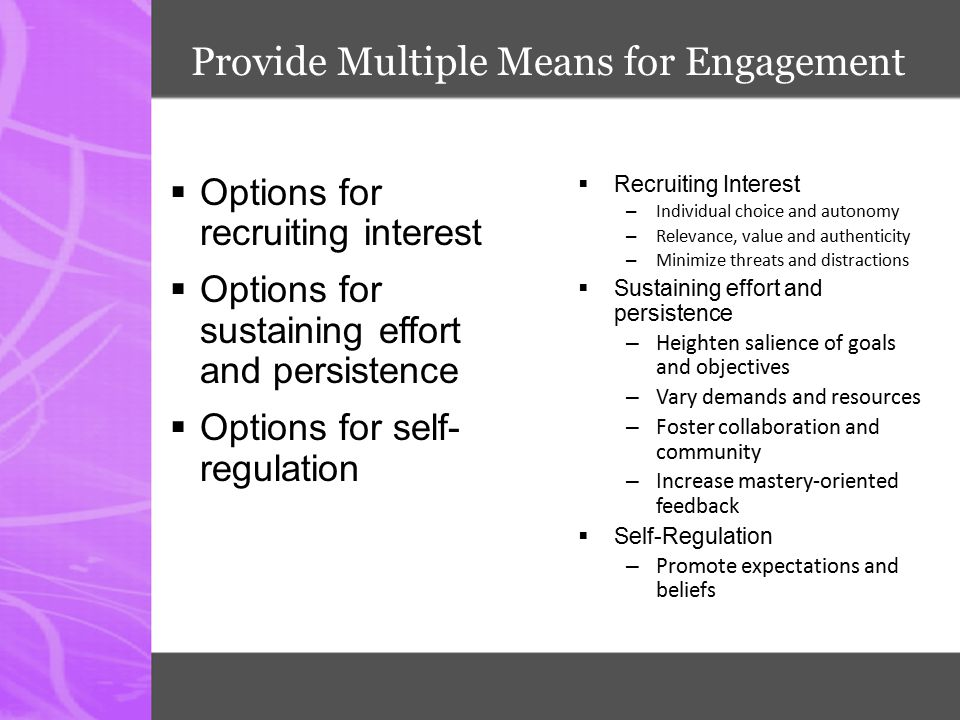 Provide Multiple Means for Engagement
