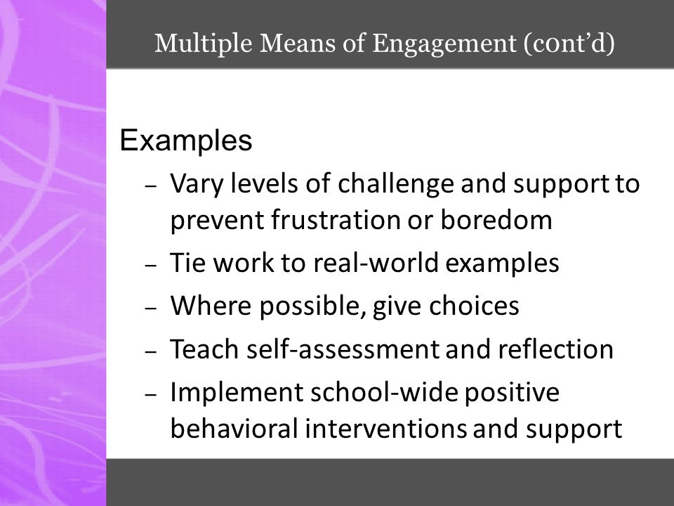 Multiple Means of Engagement (c0nt'd)