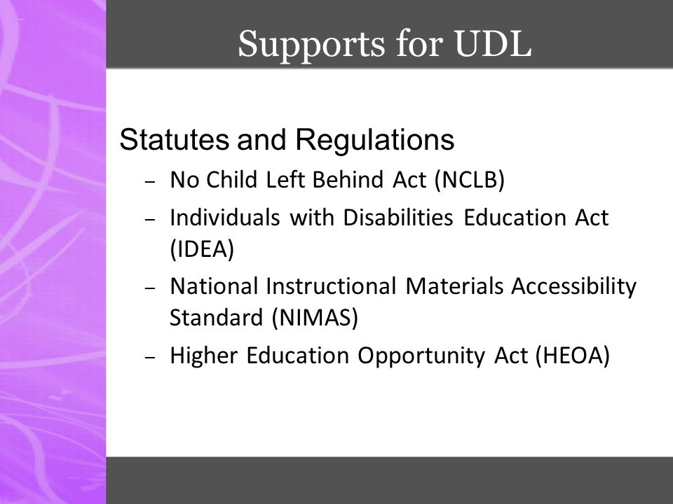 Supports for UDL Statutes and Regulations