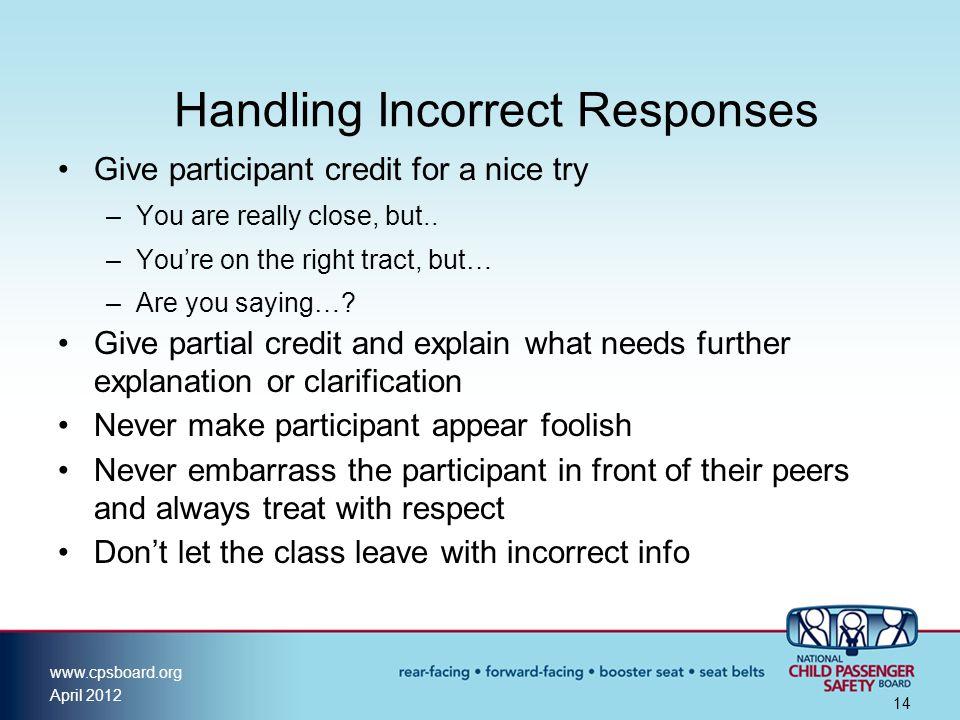 Handling Incorrect Responses