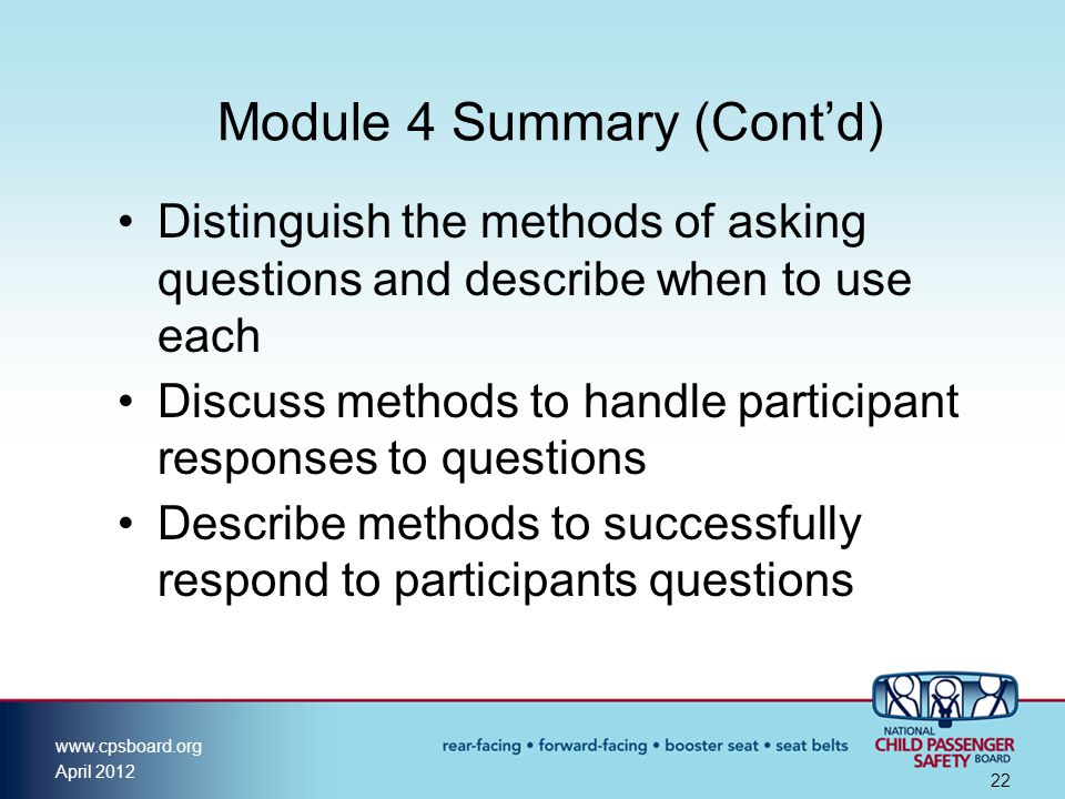 Module 4 Summary (Cont'd)