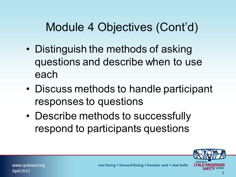 Module 4 Objectives (Cont'd)