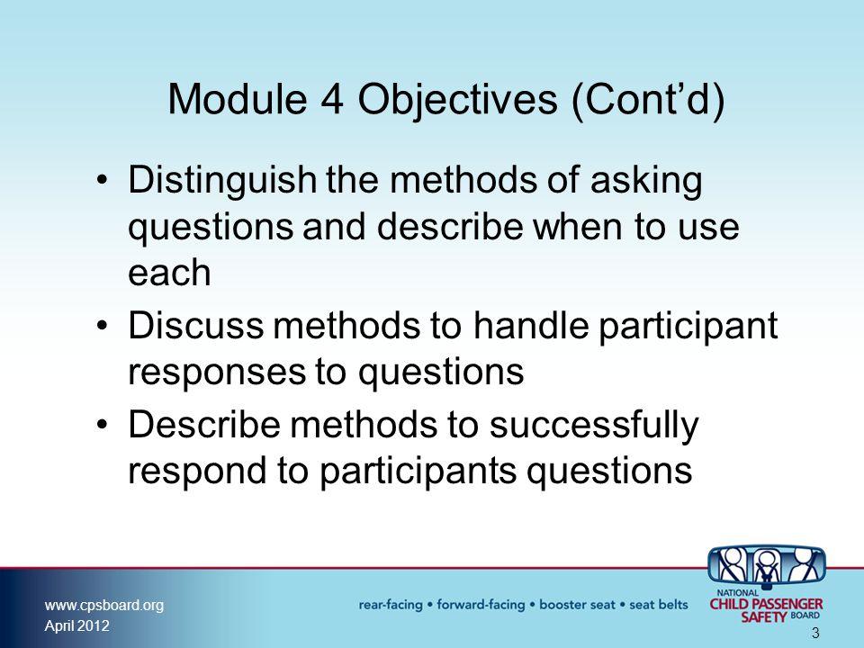 Module 4 Objectives (Cont'd)