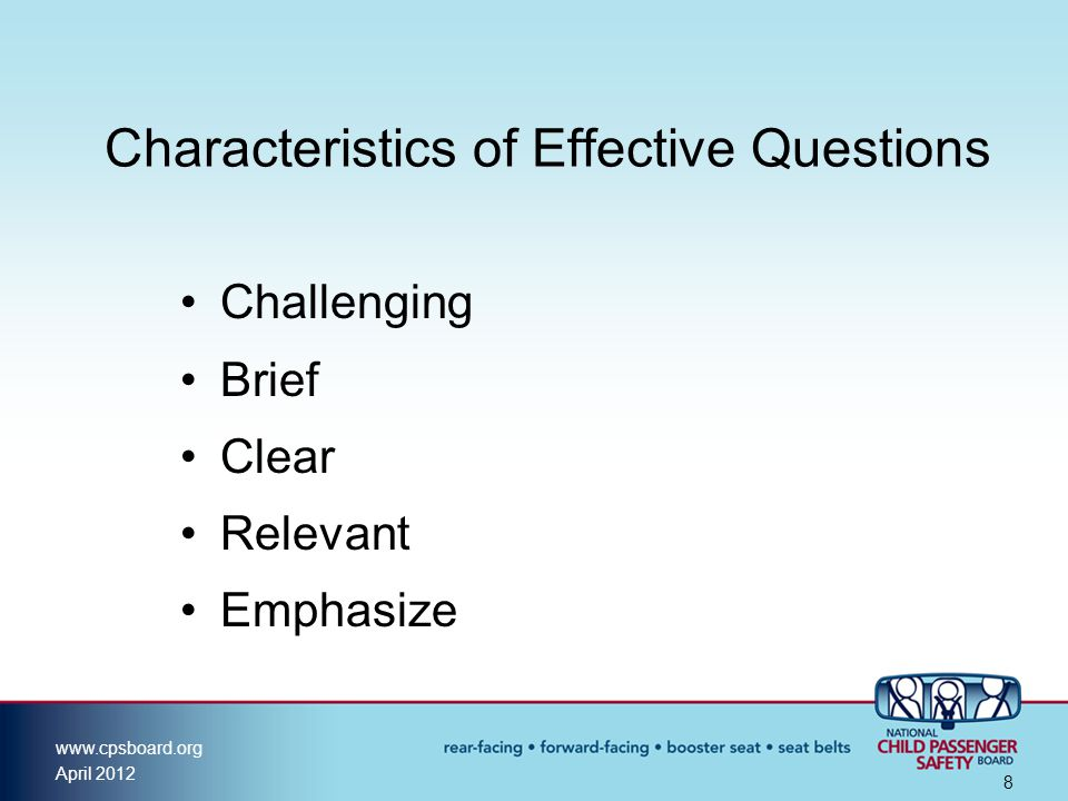 Characteristics of Effective Questions