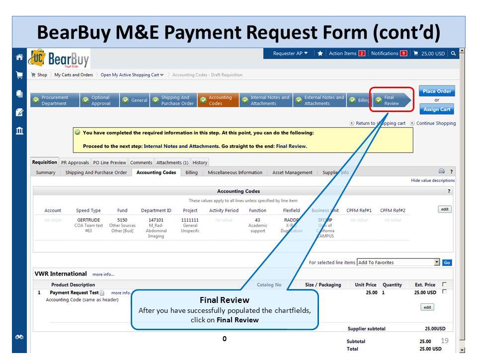 BearBuy M&E Payment Request Form (cont'd)