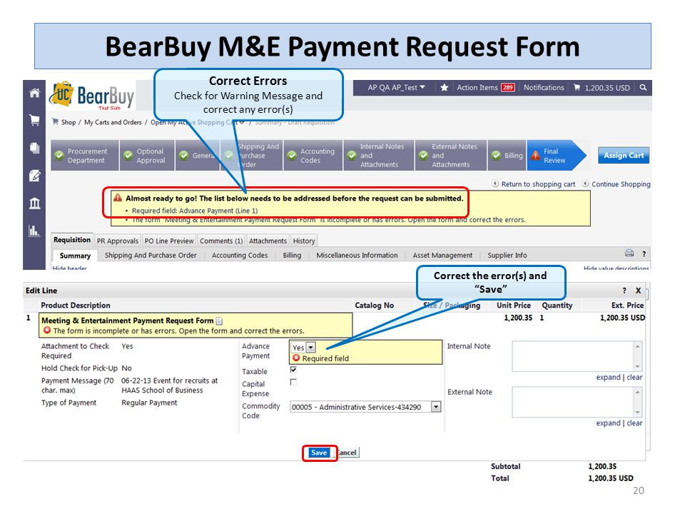 The Meeting And Entertainment (M&E) Payment Request Form - Ppt