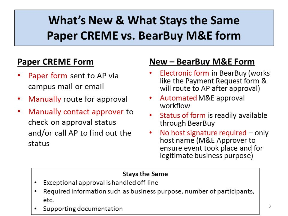 The Meeting and Entertainment (M&E) Payment Request Form - ppt ...