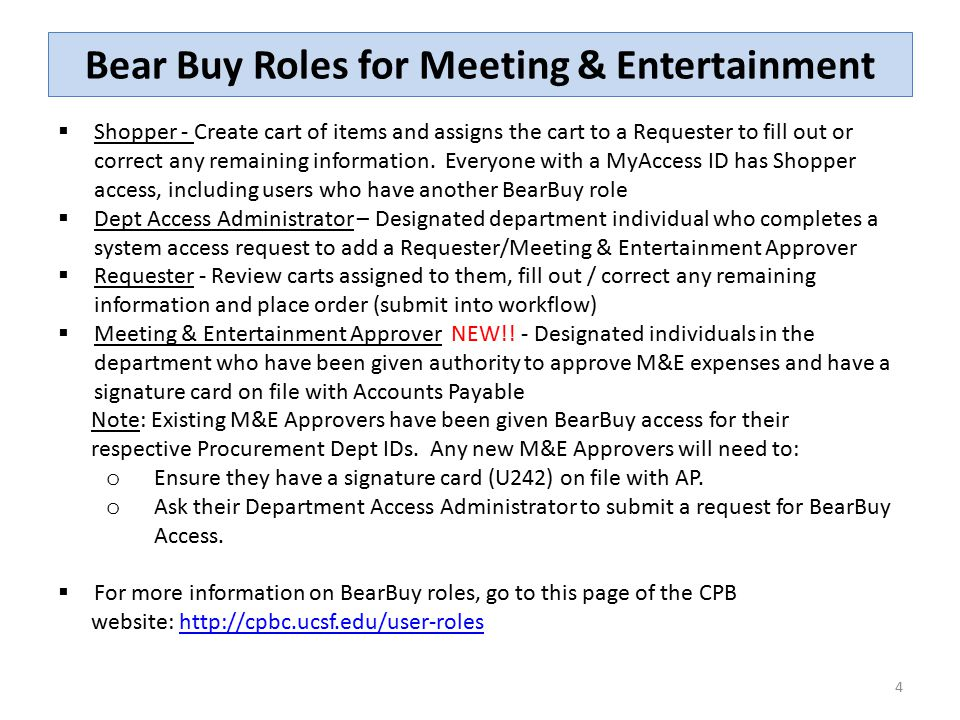 Bear Buy Roles for Meeting & Entertainment