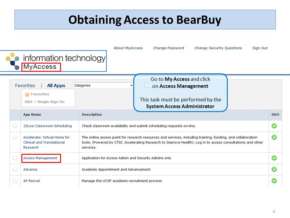 Obtaining Access to BearBuy