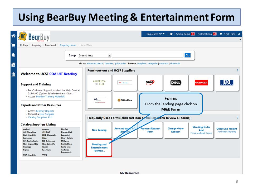 Using BearBuy Meeting & Entertainment Form