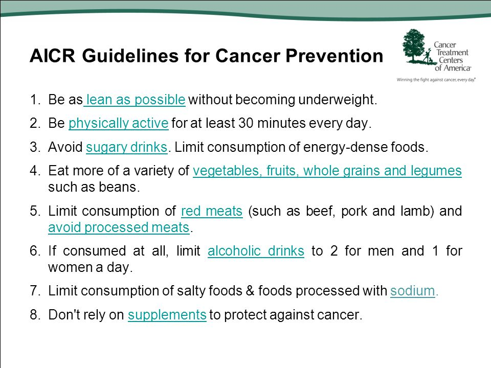 AICR Guidelines for Cancer Prevention