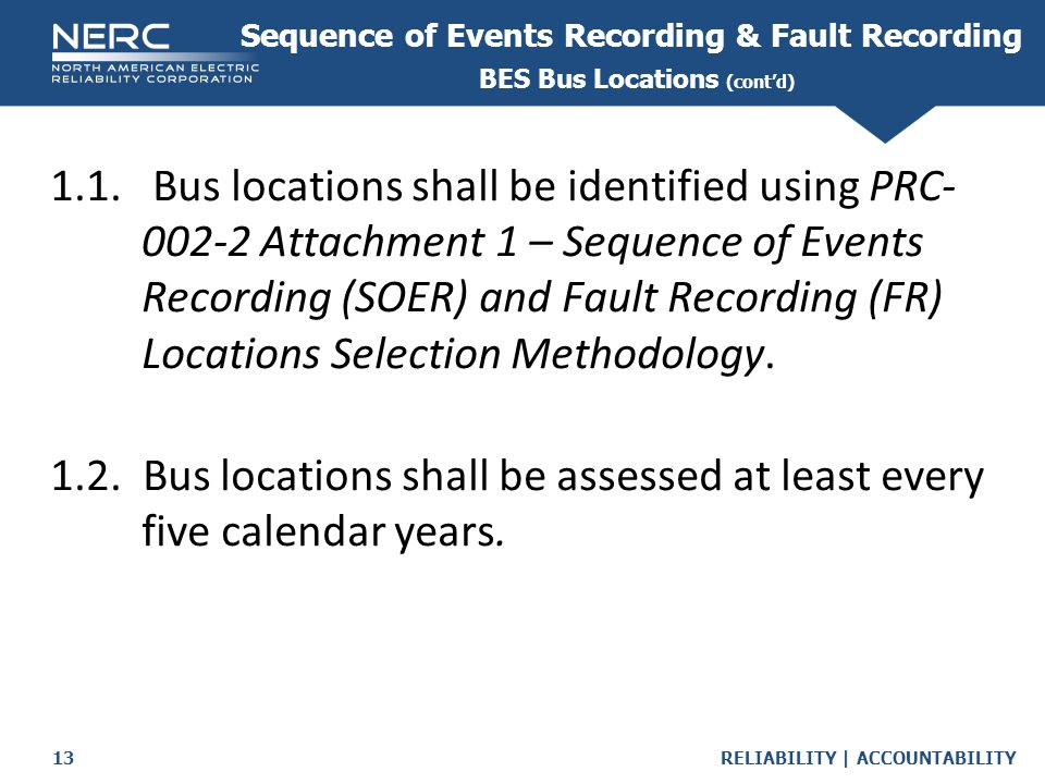 Sequence of Events Recording & Fault Recording BES Bus Locations (cont'd)