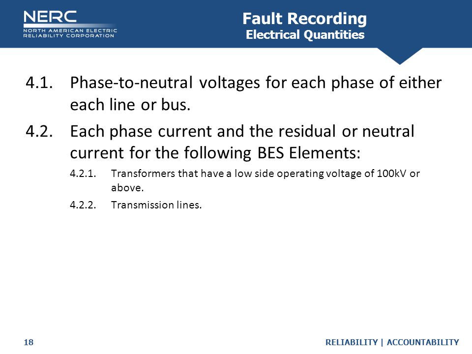 Fault Recording Electrical Quantities