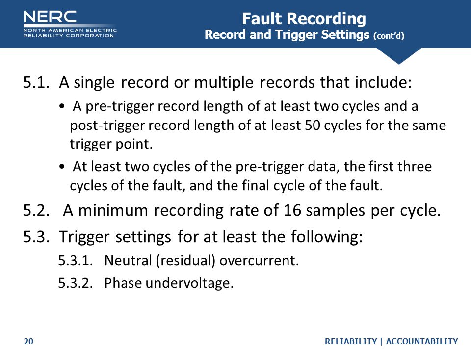 Fault Recording Record and Trigger Settings (cont'd)