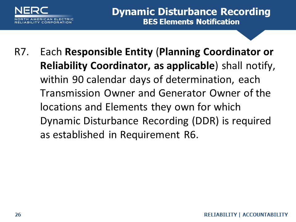Dynamic Disturbance Recording BES Elements Notification