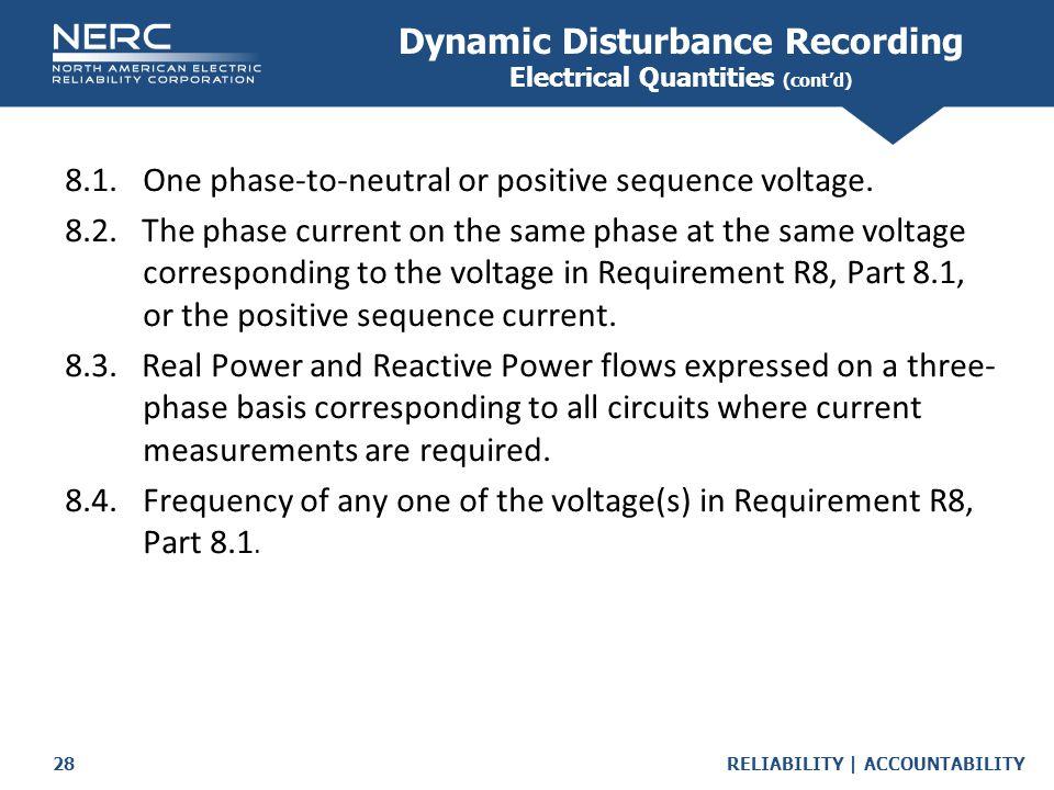 Dynamic Disturbance Recording Electrical Quantities (cont'd)