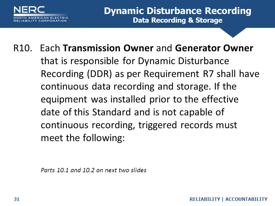 Dynamic Disturbance Recording Data Recording & Storage