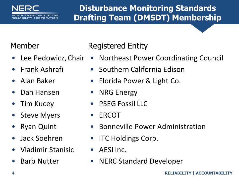 Disturbance Monitoring Standards Drafting Team (DMSDT) Membership