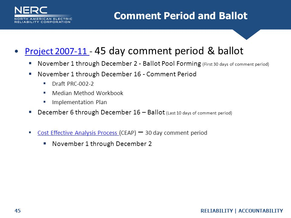 Comment Period and Ballot