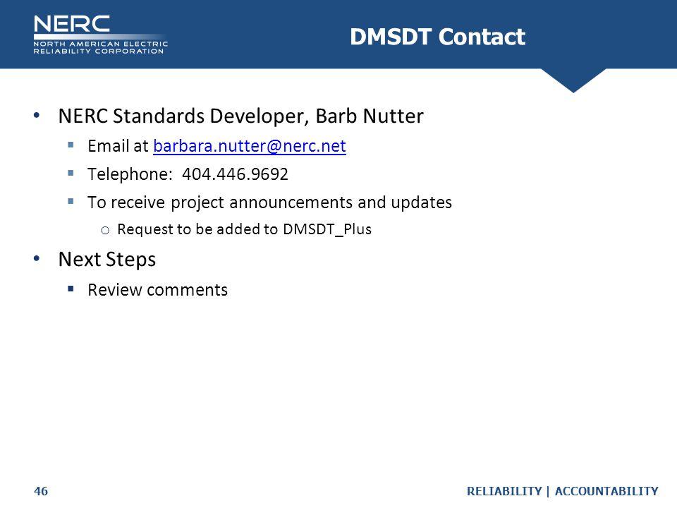 NERC Standards Developer, Barb Nutter