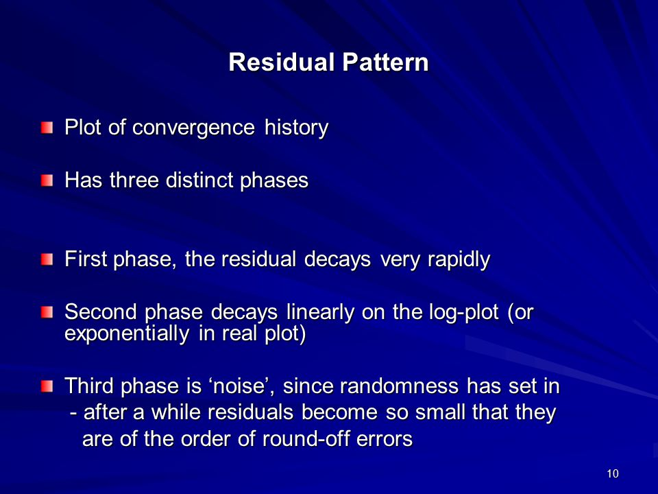 Residual Pattern Plot of convergence history Has three distinct phases