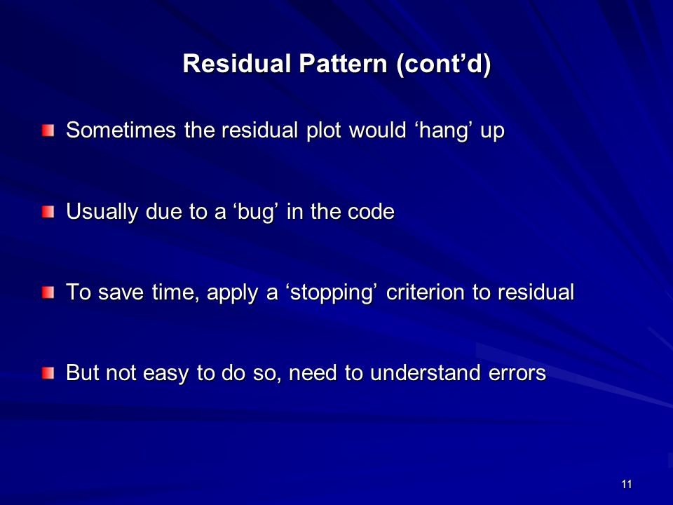 Residual Pattern (cont'd)