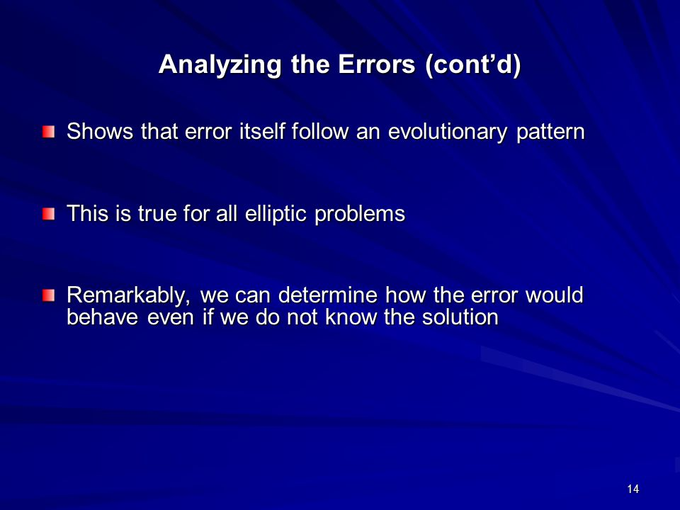 Analyzing the Errors (cont'd)
