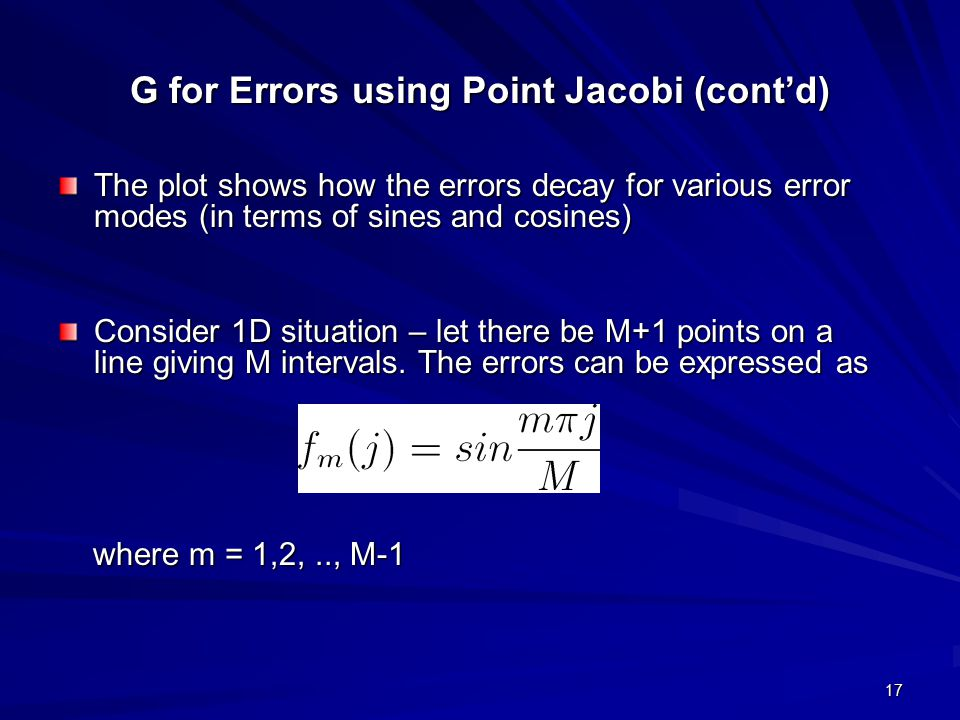 G for Errors using Point Jacobi (cont'd)