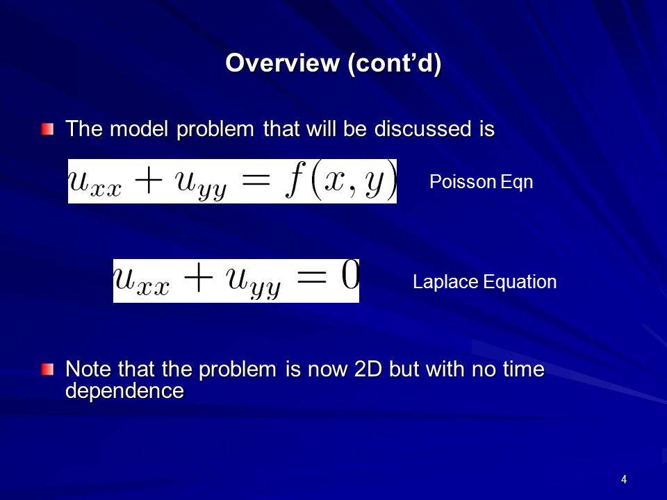 Overview (cont'd) The model problem that will be discussed is