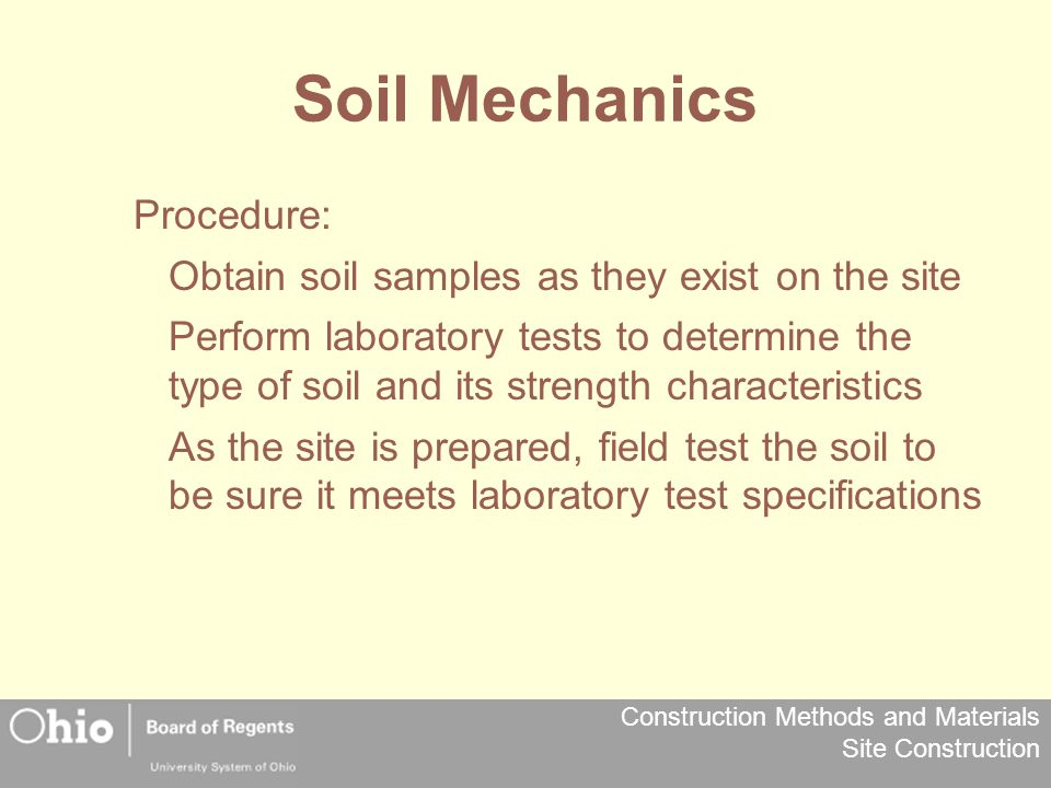 Soil Mechanics Procedure: