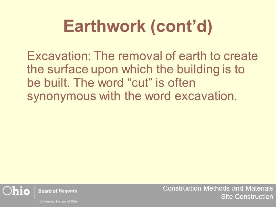 Earthwork (cont'd)