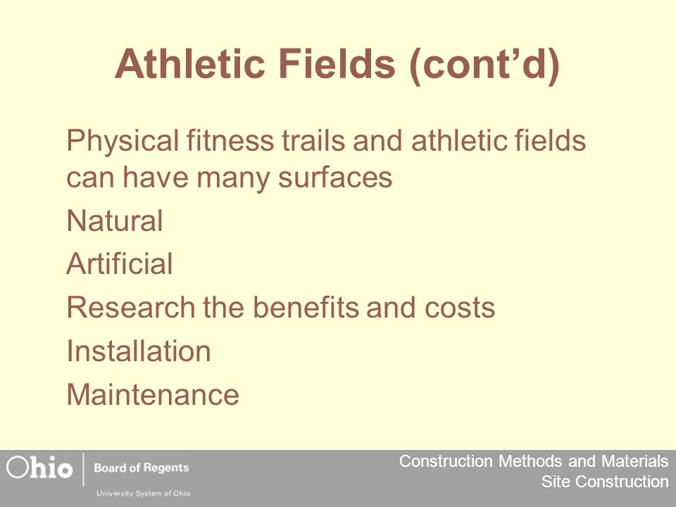 Athletic Fields (cont'd)