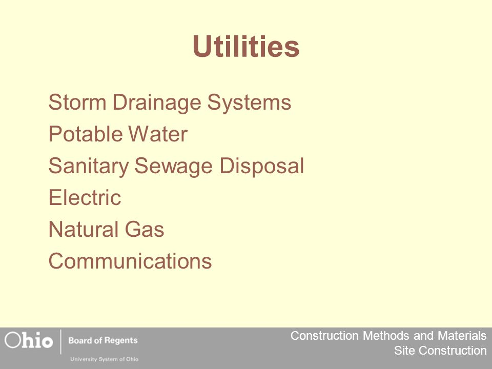 Utilities Storm Drainage Systems Potable Water