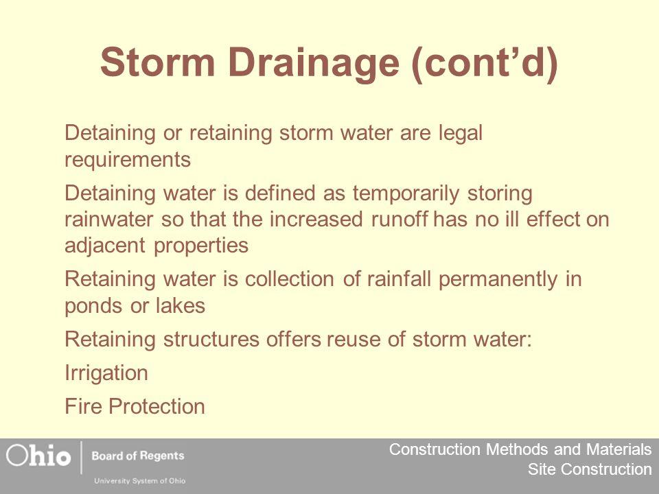 Storm Drainage (cont'd)