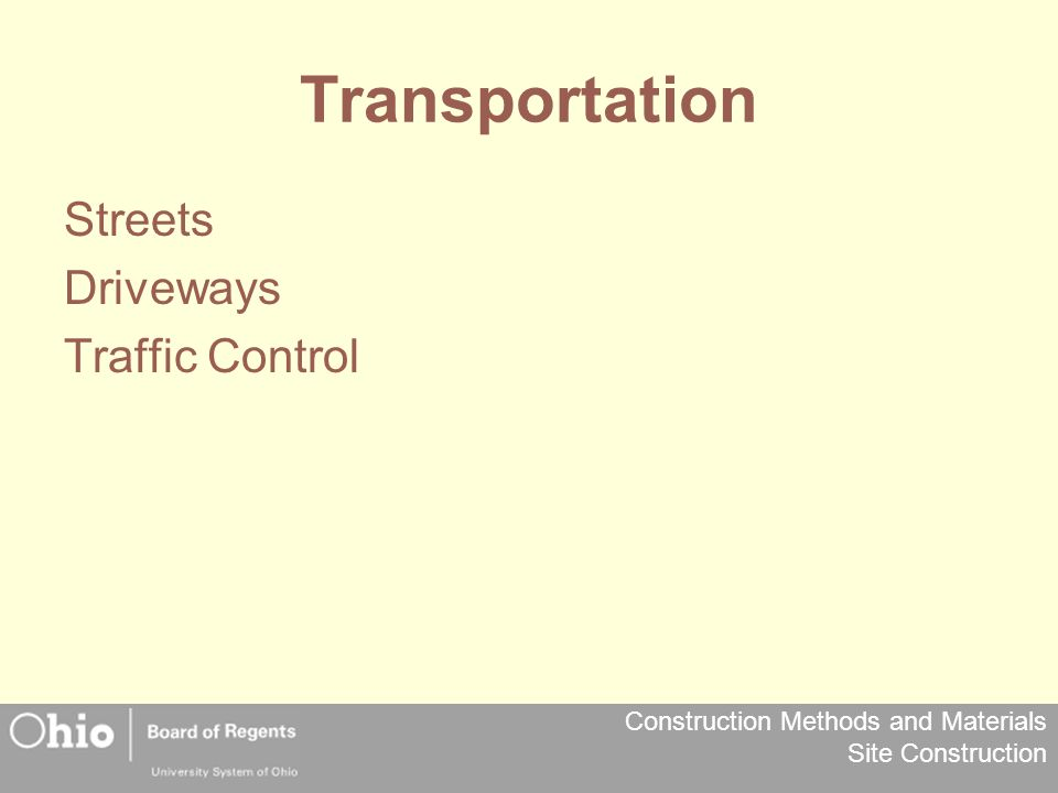Transportation Streets Driveways Traffic Control
