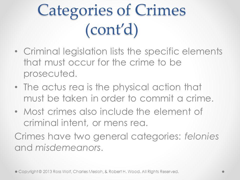 Categories of Crimes (cont'd)