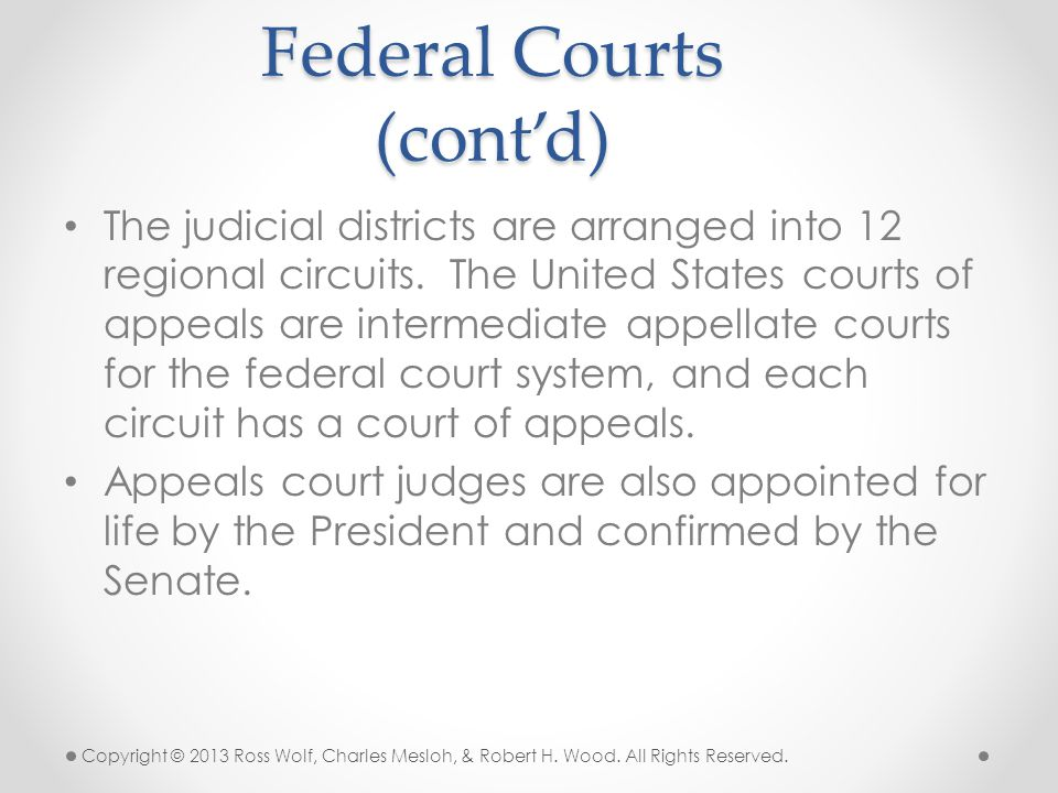 Federal Courts (cont'd)