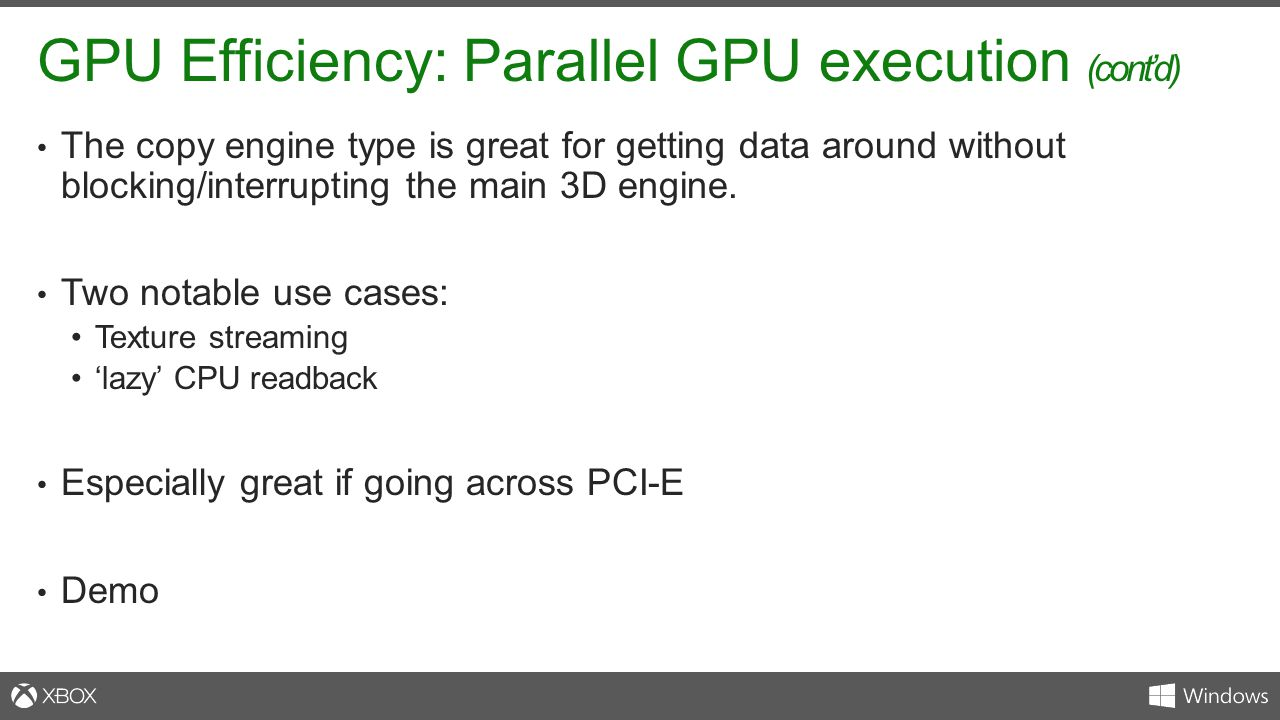 GPU Efficiency: Parallel GPU execution (cont'd)