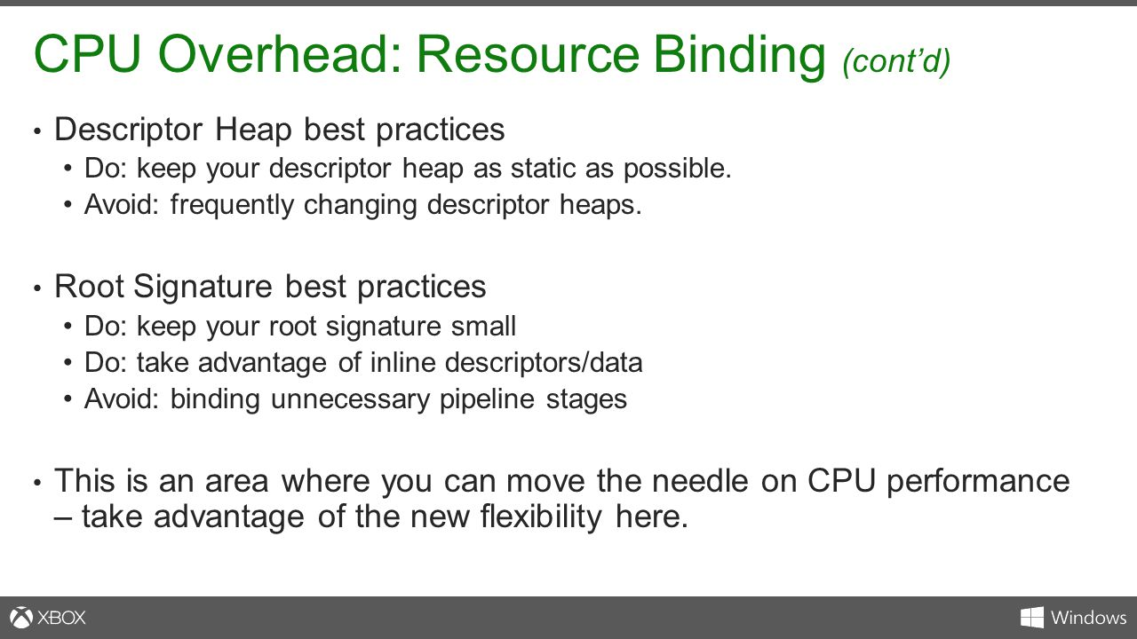 CPU Overhead: Resource Binding (cont'd)