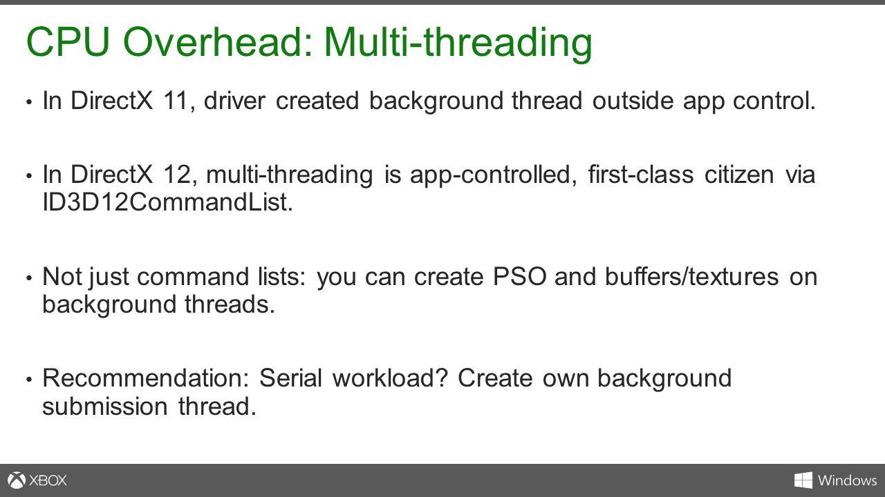 CPU Overhead: Multi-threading
