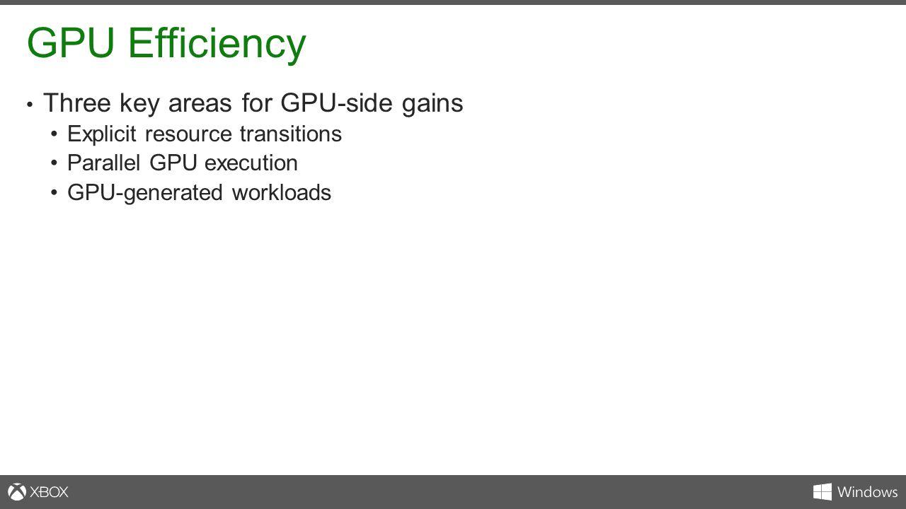 GPU Efficiency Three key areas for GPU-side gains