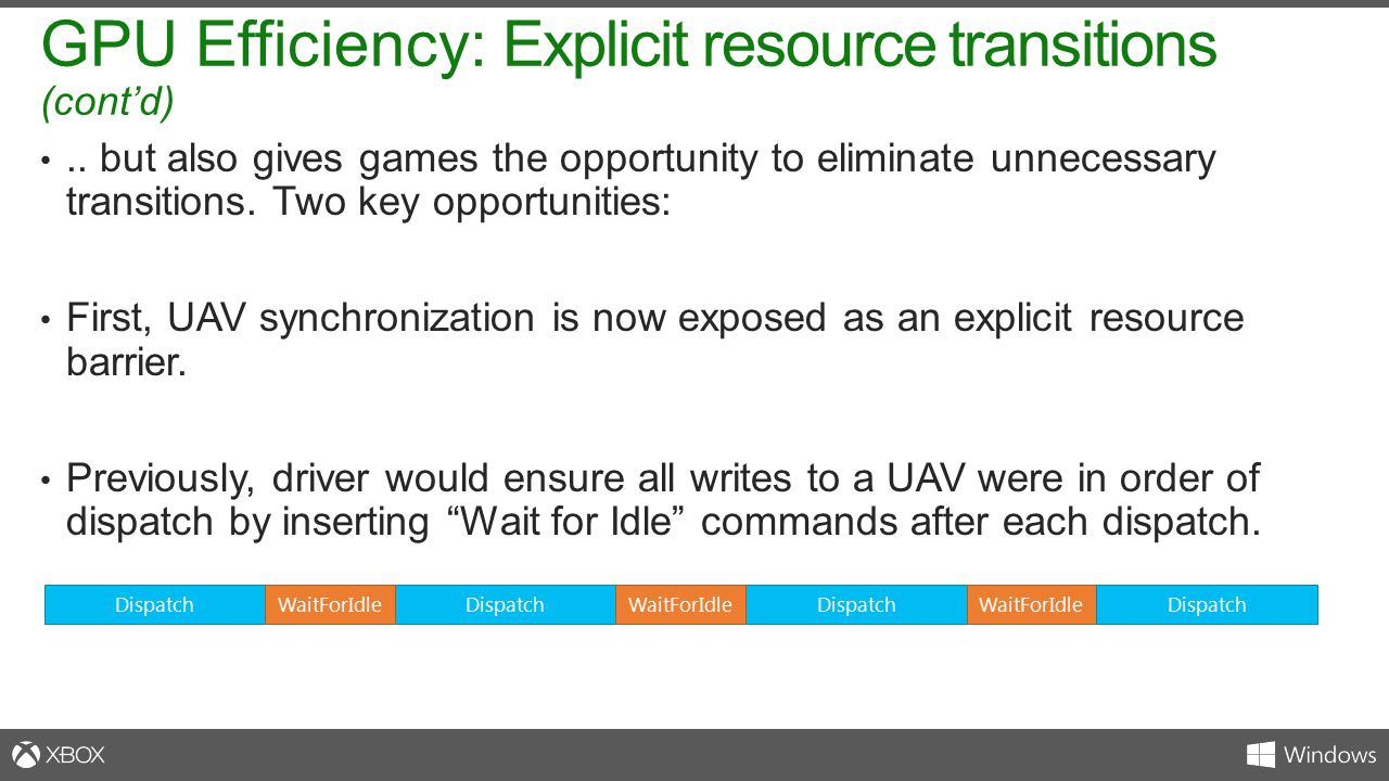 GPU Efficiency: Explicit resource transitions (cont'd)