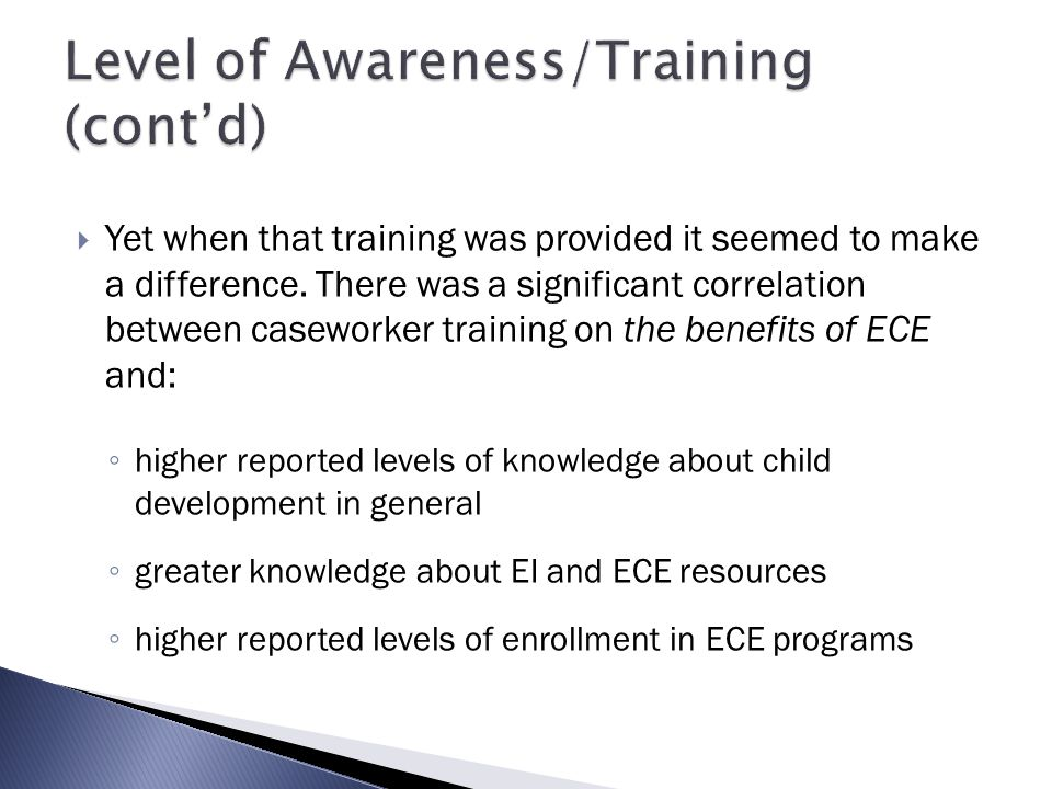 Level of Awareness/Training (cont'd)