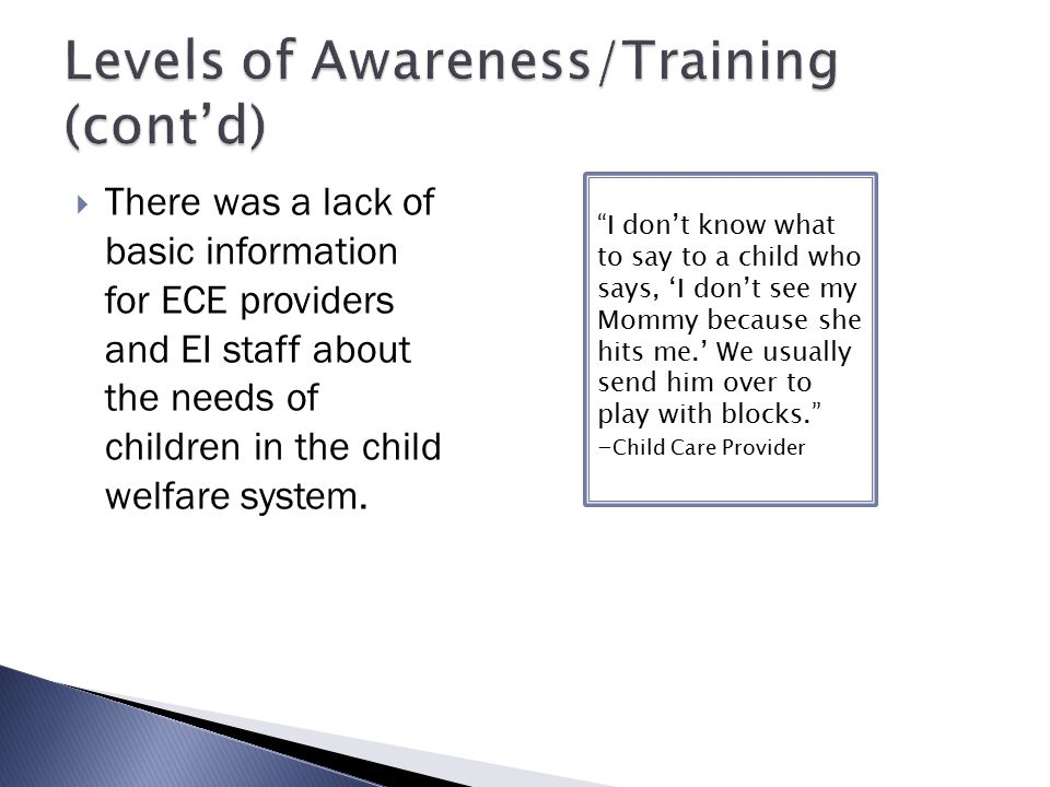 Levels of Awareness/Training (cont'd)