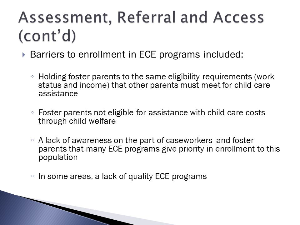 Assessment, Referral and Access (cont'd)
