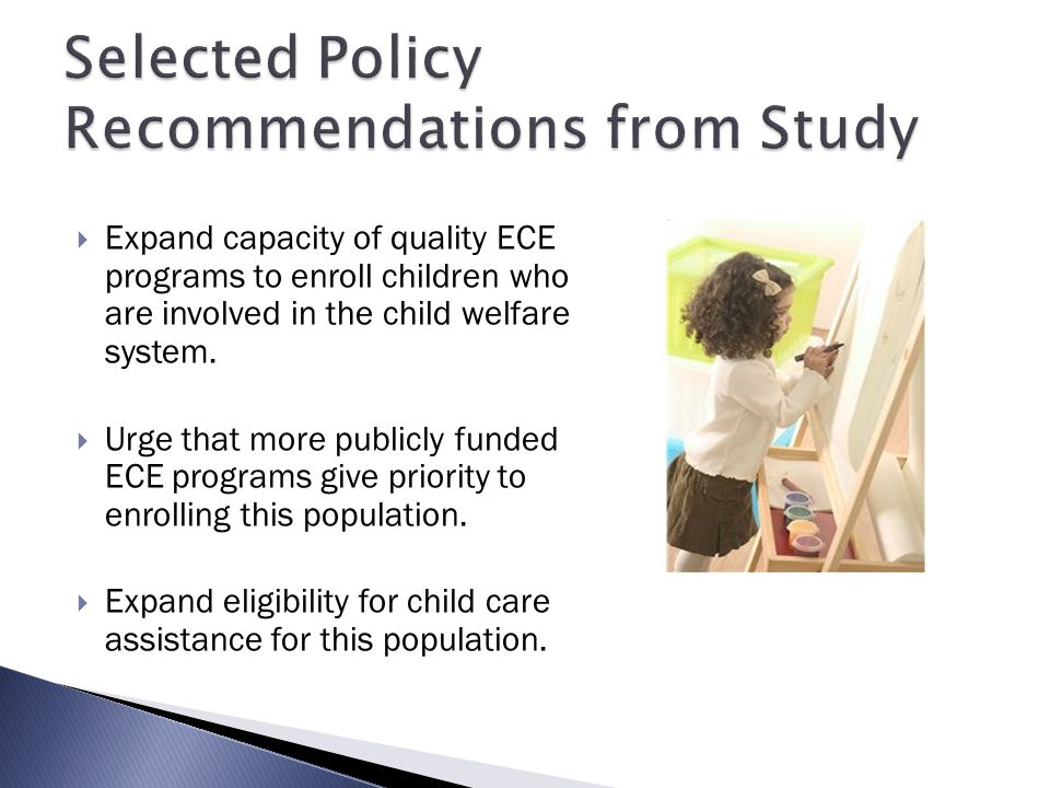 Selected Policy Recommendations from Study