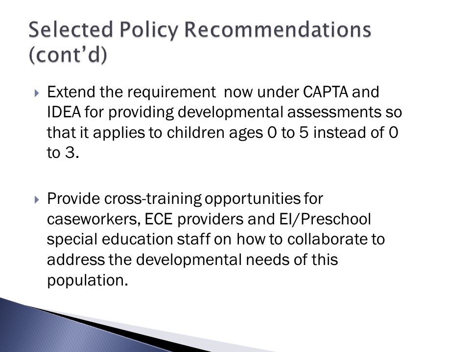 Selected Policy Recommendations (cont'd)