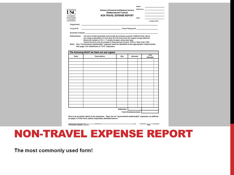 Non-travel Expense report